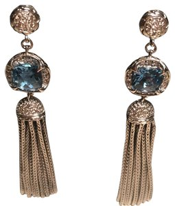 John Hardy John Hardy Diamond Swiss Blue Topaz Sterling Silver Tassel Earrings
