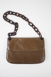 Prada Leather Chain Link Saddle Tortoise Satchel in Brown