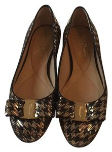 Salvatore Ferragamo Black/gold sequin Flats