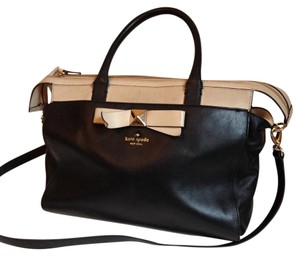 Kate Spade Bow Satchel in Black & Cream
