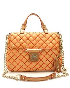Olivia Harris Handbag Quilted Leather Satchel in Camel w red stitching