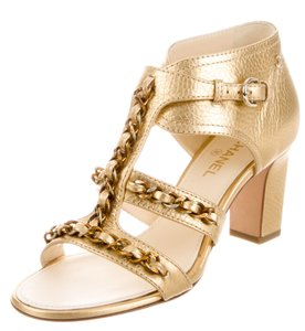 Chanel Camellia Interlocking Cc Logo Gold, Beige Sandals