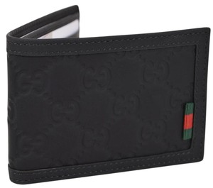 Gucci Gucci Men's 233157 Black Neoprene Red Green Web Mini GG Wallet
