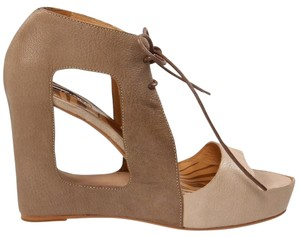 Matiko Leather Platform Hidden Platform Color-blocking Cutout Tan/Taupe Wedges