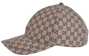 Gucci Gucci Men's 387561 Beige Blue GG Guccissima Web Stripe Baseball CapM