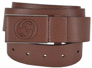 Gucci Gucci Men's 368188 Brown Leather Interlocking GG Buckle Belt 42 105