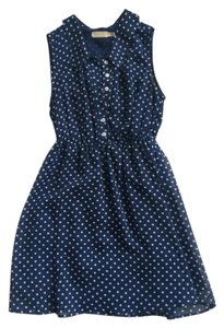 Pins and Needles short dress Blue and white Polka Dot Collar Button Up on Tradesy