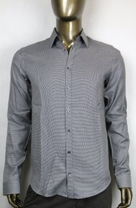 Gucci Grey/white Houndstooth Skinny Formal Dress Shirt 39/15.5 307635 9085