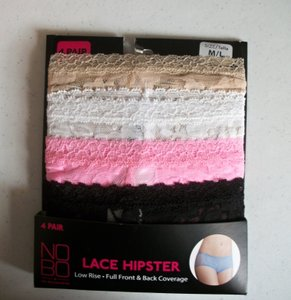 No Boundaries One 4-Pack Lace Hipsters Size M/L Medium Large Various Colors