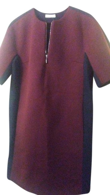 Item - Maroon Dark Blue Made In France Mid-length Work/Office Dress Size 8 (M)