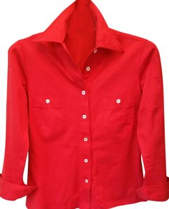 Céline Designer Made In Italy Long Sleeve Button Down Shirt Top red