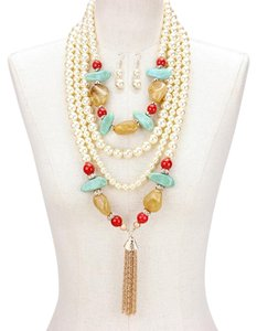Natural Semiprecious Stone Multilayer Pearl Tassel Necklace Set