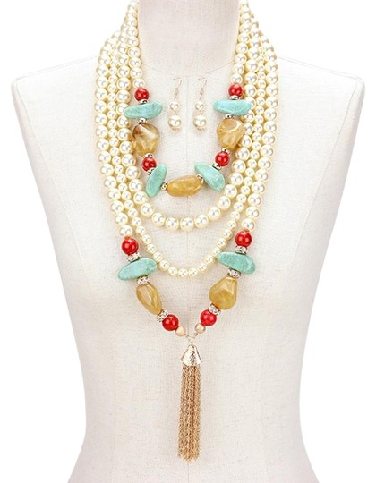 Preload https://item3.tradesy.com/images/multicolor-brown-gold-turquoise-natural-semiprecious-stone-multilayer-pearl-tassel-necklace-19644367-0-1.jpg?width=440&height=440