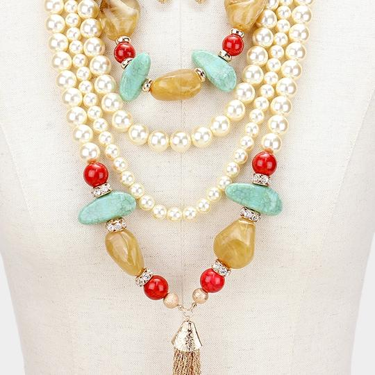 Other Natural Semiprecious Stone Multilayer Pearl Tassel Necklace Set
