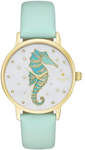 Kate Spade Kate Spade KSW1102 Seahorse Gold tone Mint Green Leather Band Watch