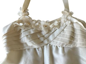 Kate Spade Halter Flowers Pleats Top White, ivory