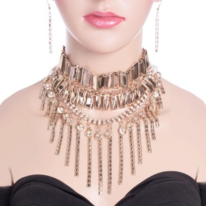 Crystal Accent Gold Fringe Choker Necklace Set