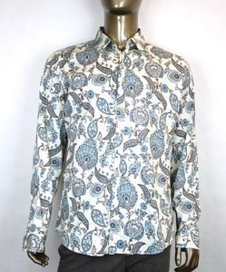 Gucci Multi-color Men's Floral Dress Slim White/Blue/Gray 16 309114 4663 Shirt