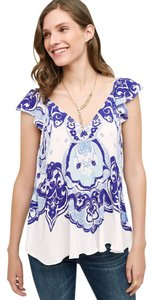 Maeve Anthropologie Top White/Blue