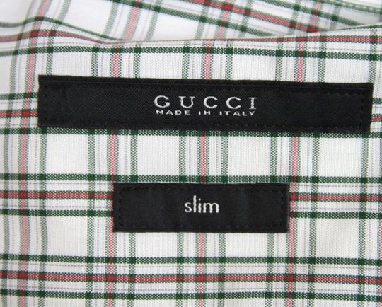 Gucci Multi-color Mens Slim Green/Red Plaid Dress 42/16.5 307653 3163 Shirt