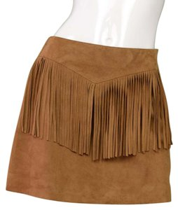 Saint Laurent Fringe Skirt Tan