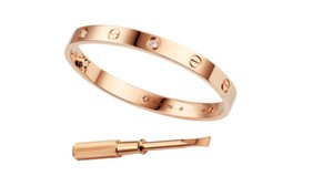 Cartier Cartier 18K Rose Gold 4 Diamonds Love Bracelet Size 16