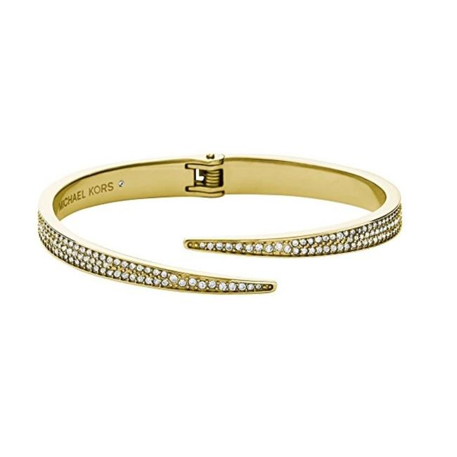 Item - Gold Tone Stainless Steel Mkj3509 710 Pave Matchstick Cuff Bracelet