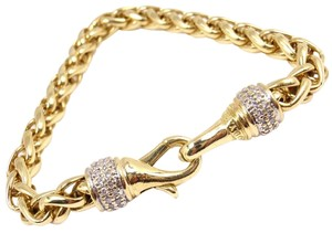 David Yurman David Yurman Solid 18K Yellow Gold Diamond 6mm Wheat Chain Bracelet