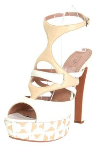 ALAÏA Chunky Heel Leather Ivory Sandals