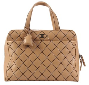 Chanel Quilted Ch.k0817.05 Brown Contrast Stitch Leather Tote