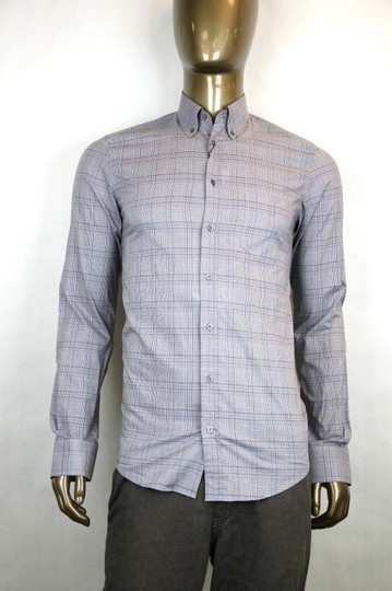 Gucci Multi-color Men's Classic Dress Blue Gray Orange Check 17 1/2 333757 4201 Shirt
