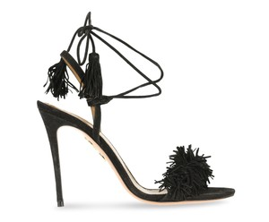 Aquazzura Leather Suede Fringe Black Sandals