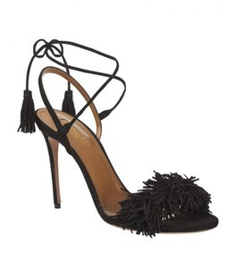 Aquazzura Fringe Suede Wild Thing Black Sandal Pumps