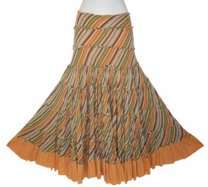 Calypso Striped Fringe Wide Sweep Maxi Skirt