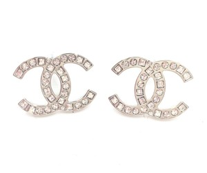 Chanel New Chanel Silver CC Round Square Crystal Large Piercing Earrings