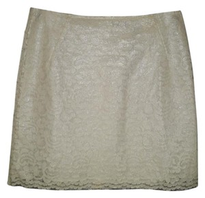 Elie Tahari Coated Lace Faux Leather Skirt