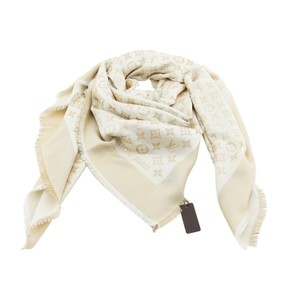 Louis Vuitton New Authentic LV Shiny White & Gold Monogram Shine Shawl & Wrap M74026