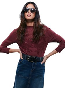 Free People Top Deep Maroon