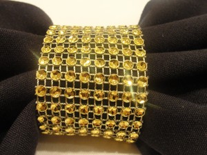 Rhinestone Look Sash Holder 150 Pc Gold Tone Bling Rhinestone Diamond Mesh Napkin Rings / Bow Covers (8 Rows) Velcro - -