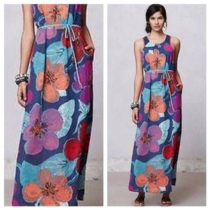 Blue Floral Print Maxi Dress by Anthropologie