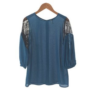 Topshop Lace Polyester Top TEAL/ BLACK