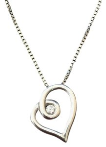 Sterling Silver Love Embrace Heart Diamond Pendant Necklace