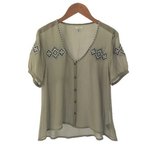Ecote Aztec Polyester Embroidered Sheer Fall Top GREY/ BLACK