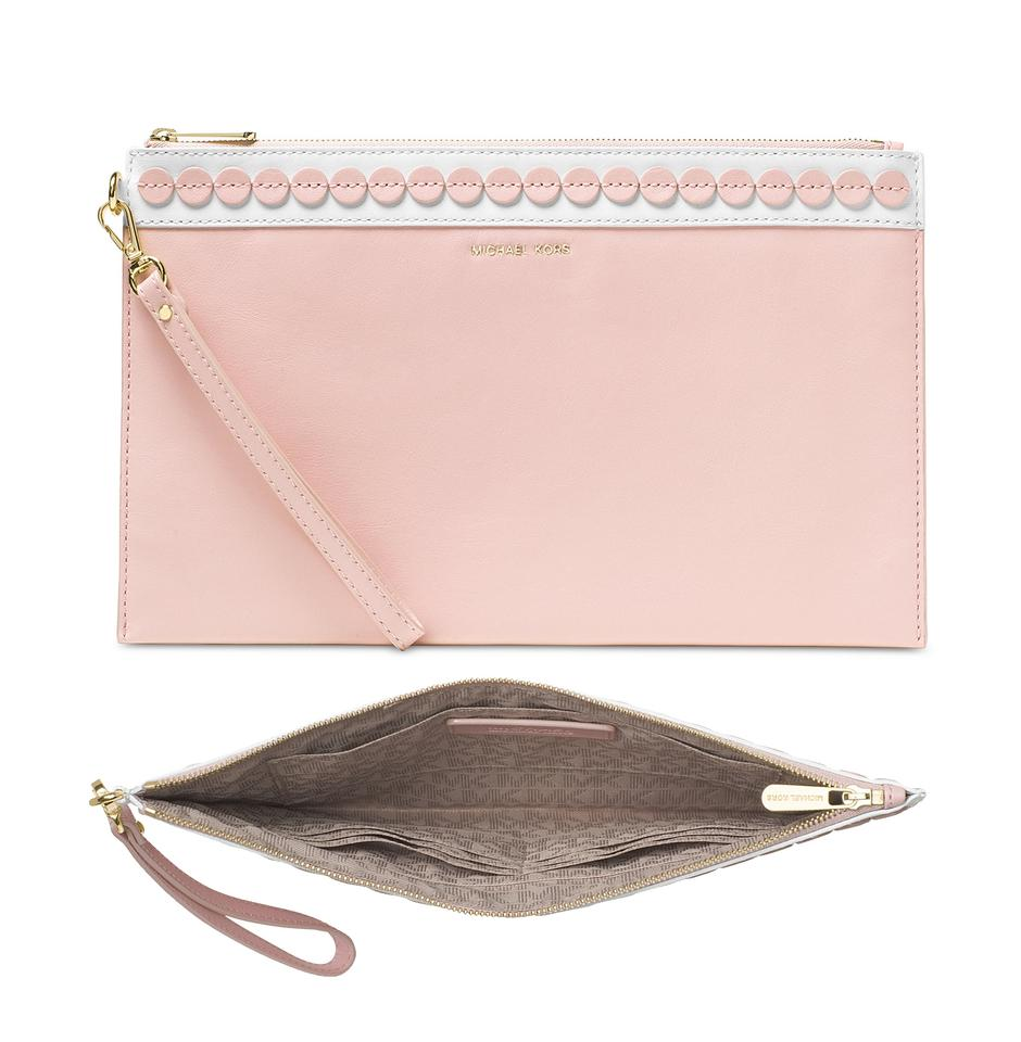 661e0c559a34 Michael Kors Clutch Analise Extra Large Zip Pink Leather Wristlet ...