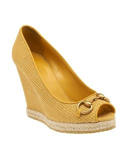 Gucci Open-toes Yellow Wedges