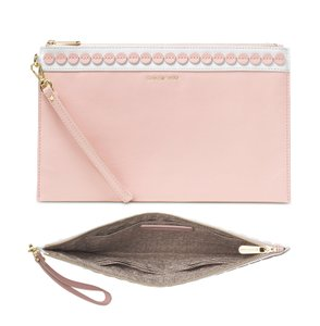 Michael Kors Ballerina Leather Embellished Wristlet in Pink