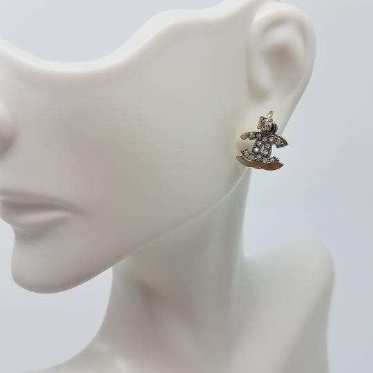 Chanel Chanel Gold Grey CC Rhinestone Overlapped Piercing Earrings