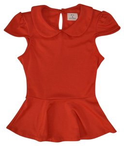 Pins and Needles Peplum Peter Pan Collar Top Red