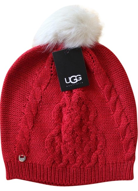 Item - Red Genuine Shearling Pom Pom Winter Hat