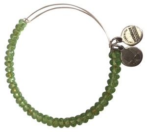 Alex and Ani Green Beaded Alex and Ani Adjustable Bracelet in Silver